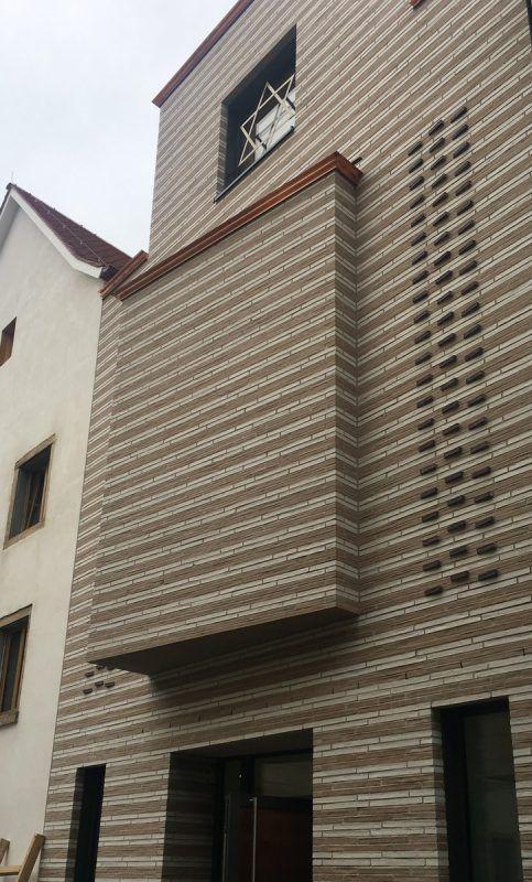 Fassadenhauptteil der neuen Synagoge in Konstanz. VN/cd