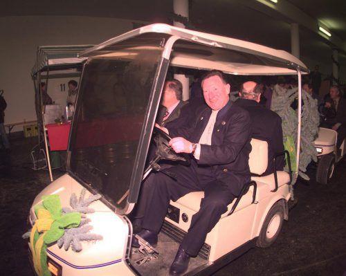 Geschafft! Preisträger Lucian auf großer Fahrt bei der Eröffnung des Tunnelsystems für Oberlech im Jahr 1997.