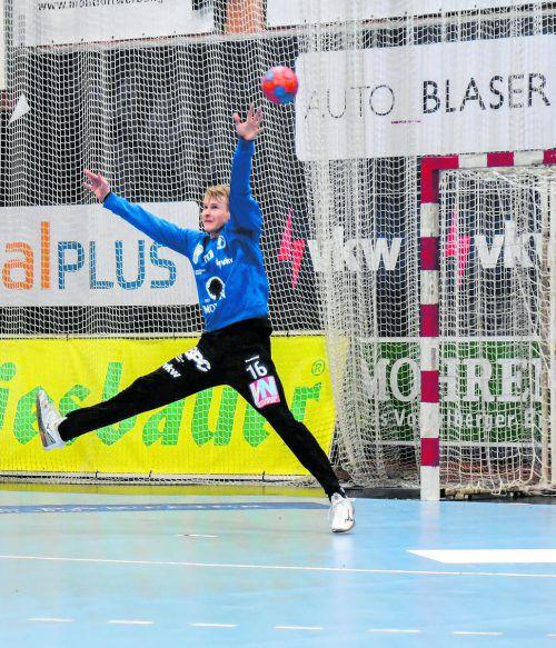 Goalie Ralf-Patrick Häusle war der einzige Lichtblick im Bregenzer Team bei der bitteren 18:23-Derbyniederlage gegen den Alpla HC Hard.GEPA