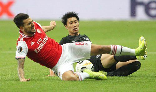 Im Hinspiel gegen Arsenal musste sich die Eintracht mit 0:3 geschlagen geben, jetzt scheint die Situation noch aussichtsloser.AFP