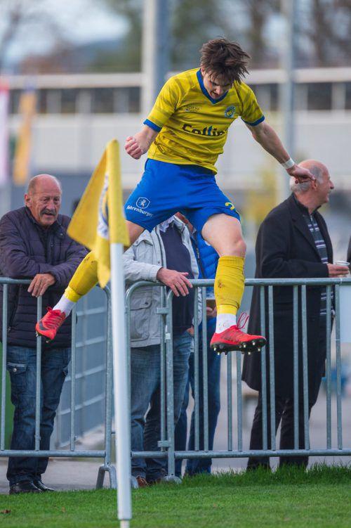 Jan Stefanon nimmt mit 15 Volltreffern die Spitzenposition in der Torschützenliste der VN.at Eliteliga ein.VN/STiplovsek