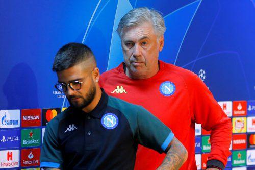 Kapitan Lorenzo Insigne (v.) hielt ein Plädoyer für Trainer Carlo Ancelotti. Reuters