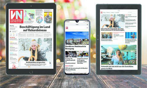 Lesen Sie zu Weihnachten die VN-Digital auf Ihrem neuen Tablet oder Smartphone: Sie haben die Wahl zwischen drei Geräten.VN