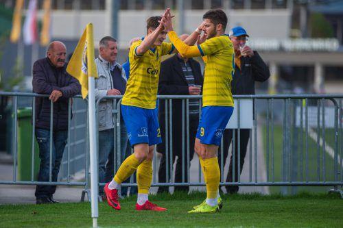 Jan Stefanon und Maurice Wunderli wollen über den Aufstieg im ÖFB-Cup jubeln.Stiplo