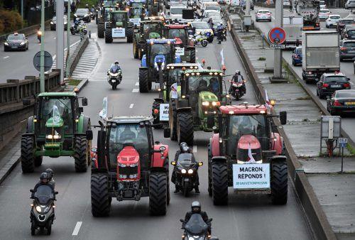 Rund 1000 Traktoren fuhren in Richtung der französischen Hauptstadt. AFP