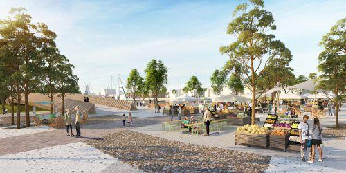 So könnte der Seepark nach dem Durchstich aussehen. Das Strandbad wäre dann über eine Brücke erreichbar. Gemeinde