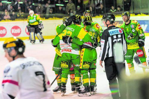 Verdient gejubelt. Sechs der sieben Tore im Derby gegen die VEU gingen beim EHC Lustenau auf das Konto der jungen Spieler. Stiplovsek