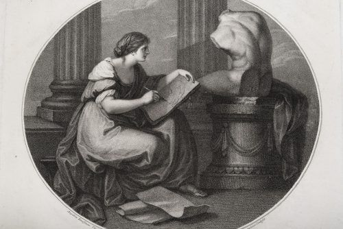 """""""Allegorie der Zeichenkunst"""", Radierung und Mezzotinto auf Papier von Angelika Kauffmann aus dem Jahr 1787. Vorarlberger Privatsammlung, Foto: Jana Sabo"""