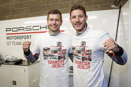 Das Porsche-GT-Team auf der Rennstrecke Spa-Francorchamps 2019: Michael Christensen (l.) und Kévin Estre (r.).JT