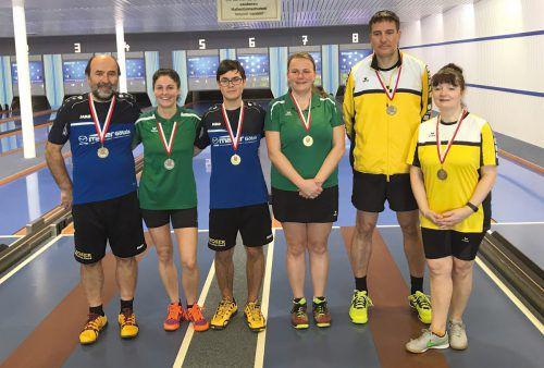 Die Medaillengewinner im Tandem (v. l.): Milosav Nikolic, Marion Jochum, Jan Nikolic, Elisabeth Kleber, Thomas Zettl und Eva Seifert.Verband
