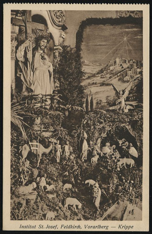 Die Weihnachtskrippen sind zu einem ein wesentlichen Bestandteil der heimischen Volkskunst geworden. Rudolf Zündel (VN), Ansichtskartensammlung, Helmut Klapper,                               Sammlung Risch-Lau, Vorarlberger Landesbibliothek