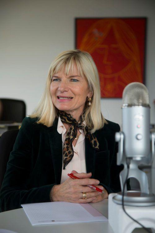 Eggler-Bargehr im Gespräch für den Podcast VN-Woche. VN/Paulitsch