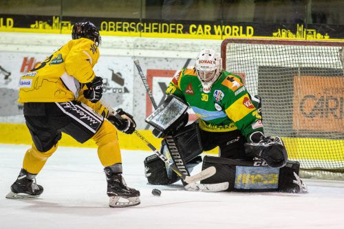 EHC-Goalie Rene Swette (hielt 34 von 37 Torschüssen) wurde zum Spieler des Abends gewählt.VN/Sams