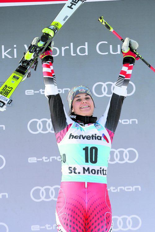 Franziska Gritsch feierte mit Platz drei im Parallelslalom in St. Moritz ihren ersten Stockerlplatz im Ski-Weltcup.gepa