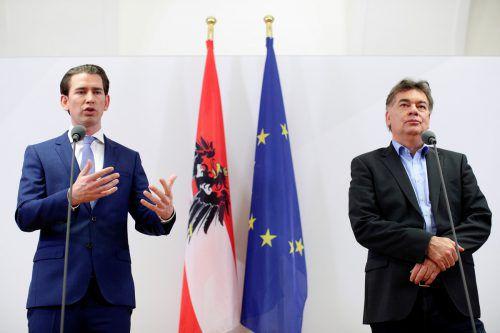 Geht es nach dem ehemaligen Rechnungshofpräsident, sollen Sebastian Kurz (links) und Werner Kogler in den Verhandlungen das Thema Transparenz angehen. APA