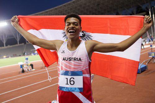 In Baku bejubelte Oluwatosin Ayodeji im Weitspringen die Goldmedaille.gepa