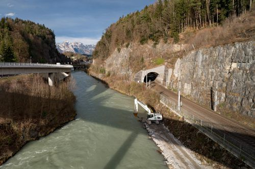 In der Felsenau laufen die ersten Arbeiten für den Feldkircher Stadttunnel. VN/Stiplovsek