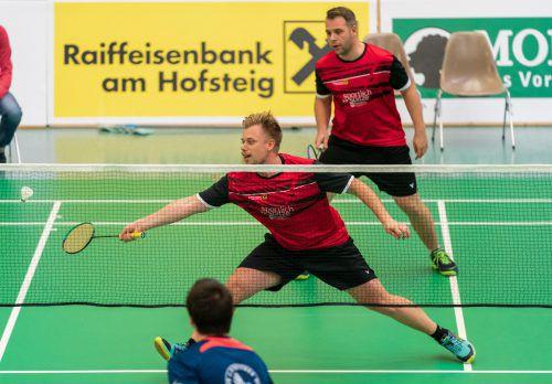 Matevz Bajuk (vorne) und Spielertrainer Rene Nichterwitz lieferten im Doppel die gewohnt solide Leistung ab und feierten einen klaren Zweisatzerfolg. VN/DS