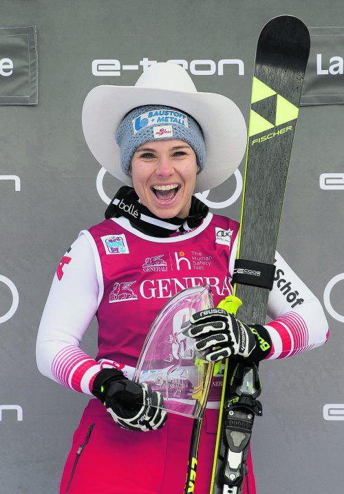 Sechstes Rennen, erster Saisonerfolg für die ÖSV-Damen. Nicole Schmidhofer gewann zum dritten Mal in Lake Louise.apa