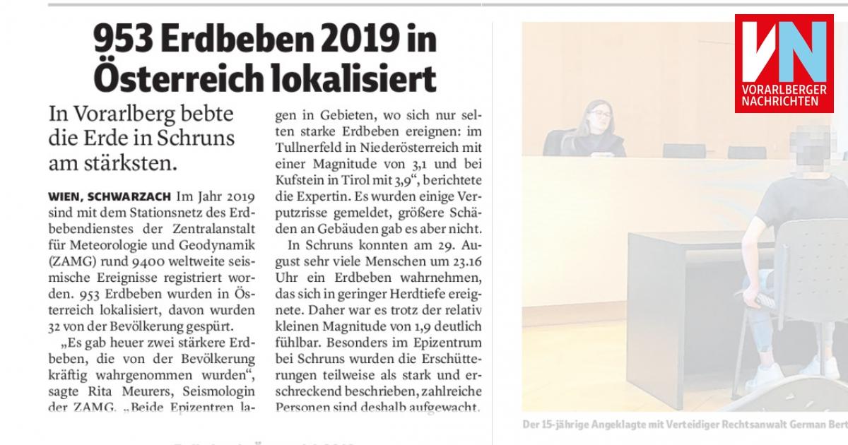 953 Erdbeben 2019 in Österreich lokalisiert - Vorarlberger ...