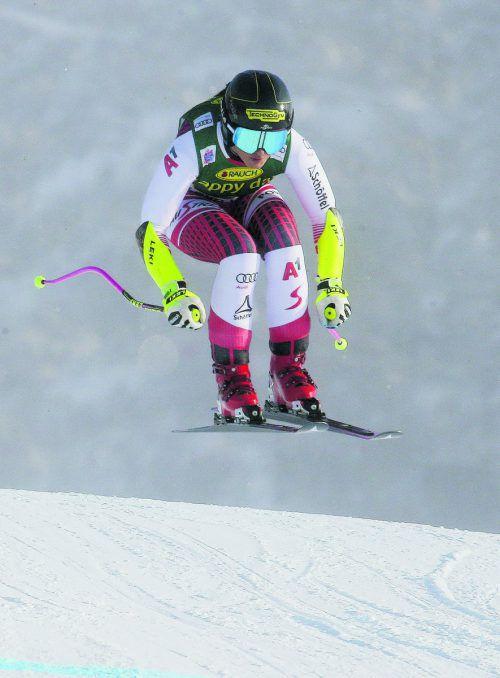 Stephanie Venier fuhr trotz Schmerzen auf den vierten Rang.gepa