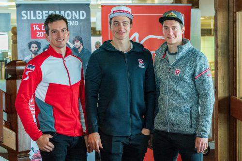 Vorarlbergs Starter beim Weltcup Montafon, v. l.: Frederic Berthold und die Brüder Alessandro und Luca HämmerleVN-Stiplovsek
