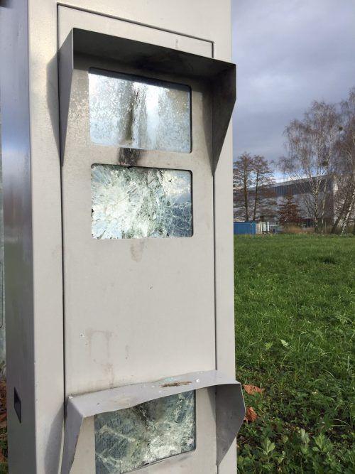 Vorübergehend außer Funktion: die Radarbox an der Harder Industriestraße.VN/GS