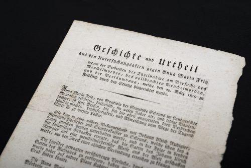 Ausschnitt aus einem vierseitigen Flugblatt zu einem Gerichtsfall nach einem Verbrechen im Montafon.Vorarlerger Privatsammlung, foto: Jana Sabo