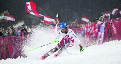 Bestzeit im ersten Durchgang, Ausfall im zweiten Lauf: Marco Schwarz konnte beim Nachtslalom in Schladming sein sehr gute Ausgangsposition nicht nutzen.gepa