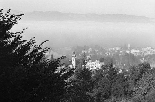 Blick von Watzenegg auf Dornbirn, nach 1972.