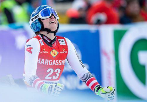 Christine Scheyer kehrte nach ihrer Verletzung in Zauchensee in den Ski-Weltcup zurück. Die Vorarlbergerin zeigte sich mit ihrem Rennen zufrieden. gepa