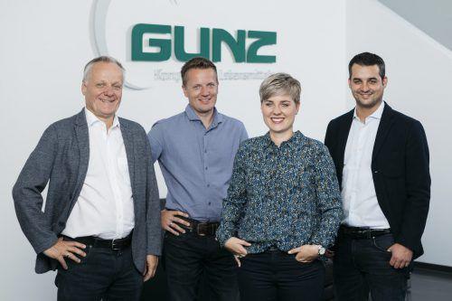 V. l.: Werner Gunz mit dem neuen Führungsteam des Unternehmens: Stefan Gunz, Simone Gunz und Michael Temel. FA/L.Mathis
