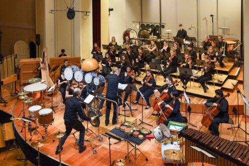 Demnächst ist es ein Uni-Orchester: Studierende am Landeskonservatorium in Feldkirch beim letzten Konzert im Dezember 2019. marin