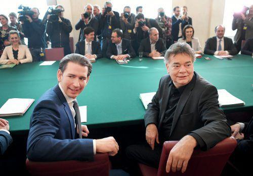 Die Bundesregierung von Kurz (l.) und Kogler traf am Mittwoch erstmals im Bundeskanzleramt zum Ministerrat zusammen.APA