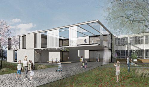 Neben neuen Klassenräumen wird im Anbau auch Platz für den Musikverein Meiningen geschaffen. 24gramm Architektur