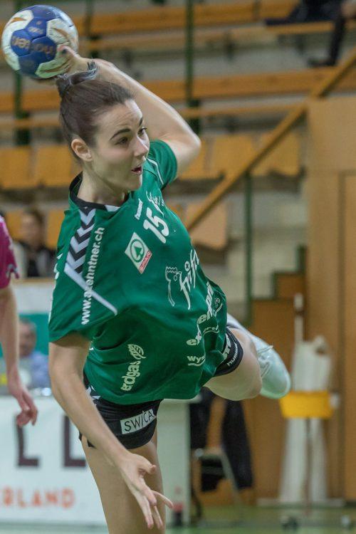 Fabienne Tomasini steuert im Trikot des LC Brühl St. Gallen der erfolgreichen Titelverteidigung entgegen. In dieser Saison warf die 22-jährige Lustenauerin bereits 47 Tore.Verein