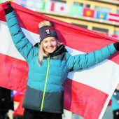 Amanda Salzgeber trägt Österreichs Fahne