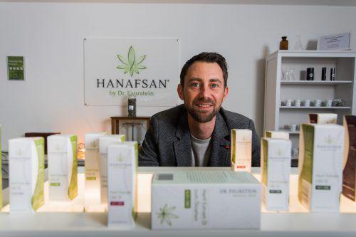 Daniel Feurstein (Dr. Feurstein Medical Hemp) produziert und verkauft in Vorarlberg CBD-Produkte unter der Marke Hanafsan. VN/Steurer