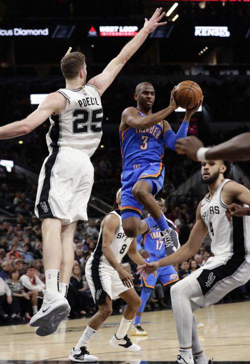 Gegen Oklahoma City Thunder hatten Pöltls Spurs das Nachsehen.ap
