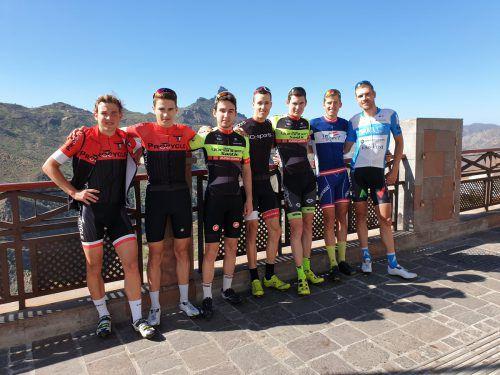 Gemeinsames Bild mit Leon Pauger, Michael Ziegler, Linus Stari, Max Hammerle, Dominik Amann, Tjebbe Kaindl (Triathlet aus Tirol) und Matthias Brändle.Kaufmann-Pauger