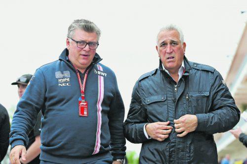Investor Lawrence Stroll (r.) kaufte sich bei Aston Martin ein und verhilft Otmar Szafnauer, Teamchef bei Racing Point, zu einem neuen Sponsor. gepa