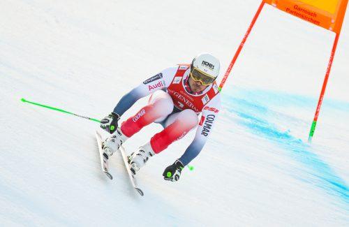 Johan Clarey möchte sich in Garmisch als ältester Sieger einer Weltcupabfahrt in die Rekordbücher eintragen.gepa