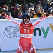 """<p class=""""caption"""">Jubel über die Führung bei Matthias Mayer, am Ende landete der Kärntner im Kitzbühel-Super-G gemeinsam mit Aleksander Aamodt Kilde auf dem zweiten Rang.gepa</p>"""