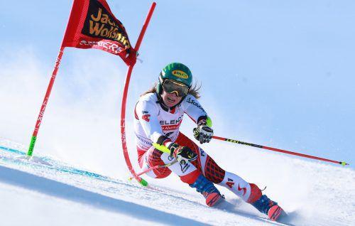 Katharina Liensberger war auf Platz 17 die beste ÖSV-Läuferin im Riesentorlauf von Sestriere.gepa