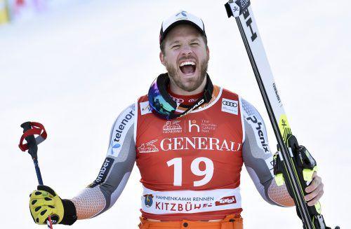 Kjetil Jansrud jubelt über seinen Sieg im Kitzbühel-Super-G. gepa