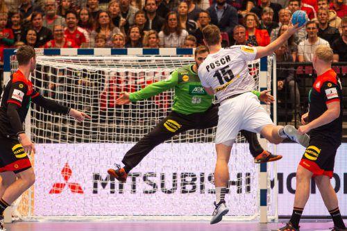 Kreisläufer Fabian Posch war mit acht Treffern erfolgreichster ÖHB-Werfer beim 28:32 gegen Deutschland.GEPA