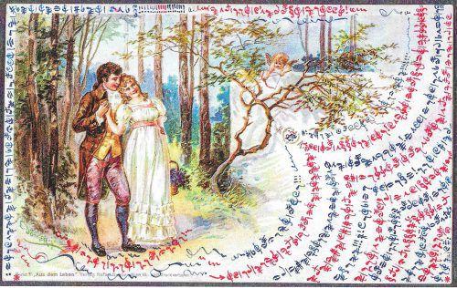 Postkarte aus dem Jahr 1900: Der Bizauer Bartholomäus Fröwis teilte seiner Angebeteten seine Empfindungen in Musiknoten mit.kommunalarchive