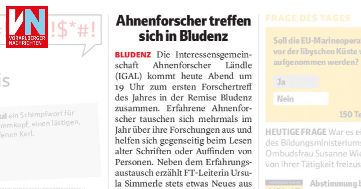 Ahnenforscher treffen sich in Bludenz - Vorarlberger