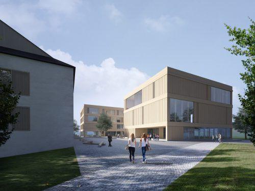 So wie in dieser Computeranimation soll der neue Schulcampus in Hittisau nach der Fertigstellung einmal aussehen. Gemeinde Hittisau