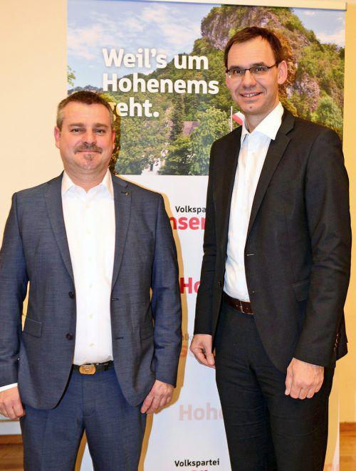 VP-Spitzenkandidat Gerhard Stoppel (l.) mit LH Markus Wallner. VP-Hohenems